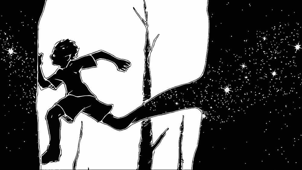 Boy running with stars